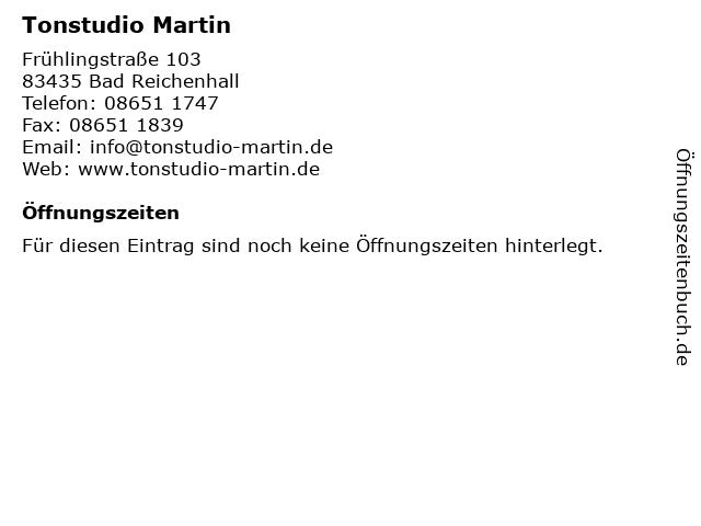 Tonstudio Martin in Bad Reichenhall: Adresse und Öffnungszeiten