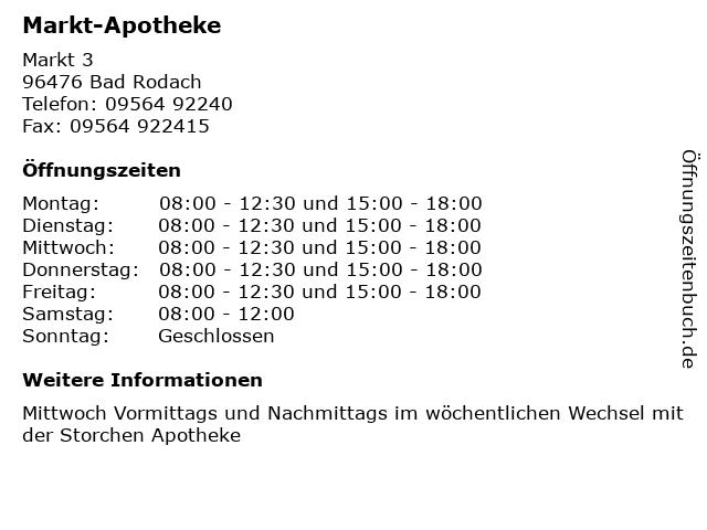 ᐅ Offnungszeiten Markt Apotheke Markt 3 In Bad Rodach