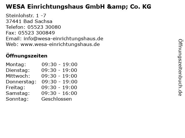 ᐅ Offnungszeiten Wesa Einrichtungshaus Gmbh Co Kg Steinlohstr 1 7 In Bad Sachsa