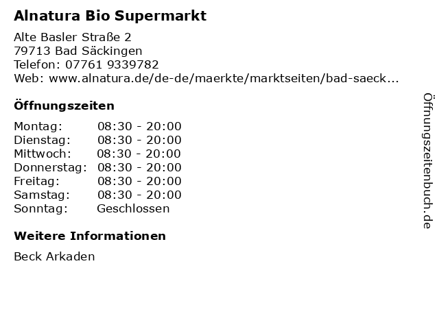 Alnatura SuperNaturMarkt in Bad Säckingen: Adresse und Öffnungszeiten