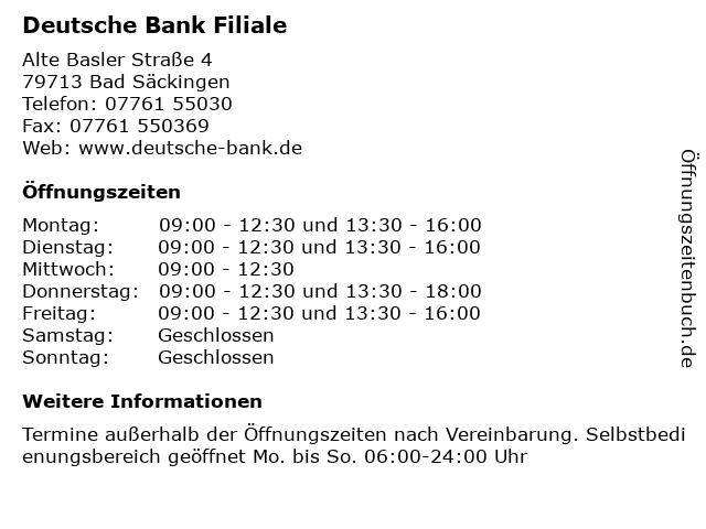 Deutsche Bank Investment & FinanzCenter in Bad Säckingen: Adresse und Öffnungszeiten