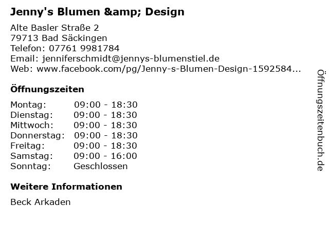 Jenny's Blumen & Design in Bad Säckingen: Adresse und Öffnungszeiten