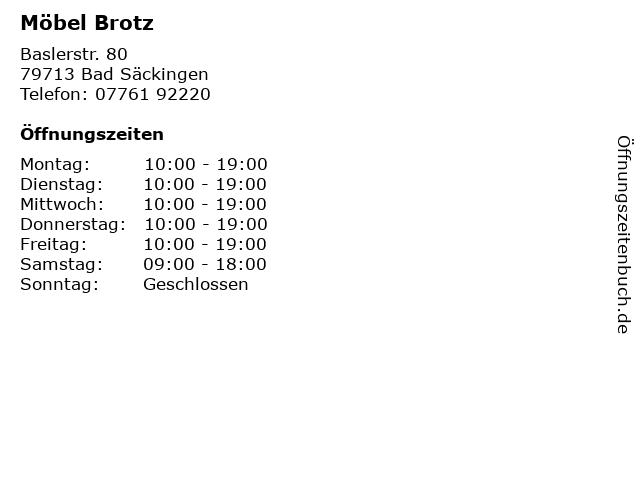 ᐅ öffnungszeiten Möbel Brotz Baslerstr 80 In Bad Säckingen