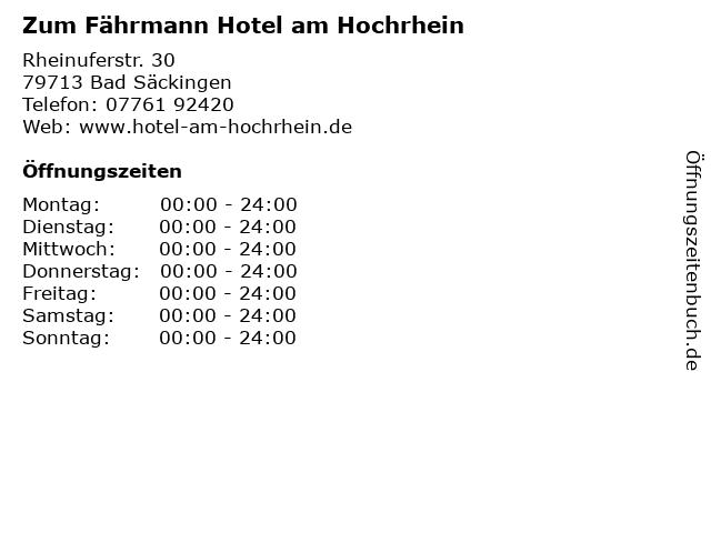 Zum Fährmann Hotel am Hochrhein in Bad Säckingen: Adresse und Öffnungszeiten