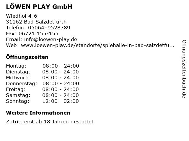 LÖWEN PLAY GmbH in Bad Salzdetfurth: Adresse und Öffnungszeiten