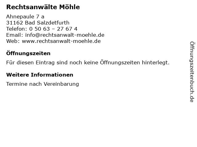 Möhle & Möhle Rechtsanwälte in Bad Salzdetfurth: Adresse und Öffnungszeiten