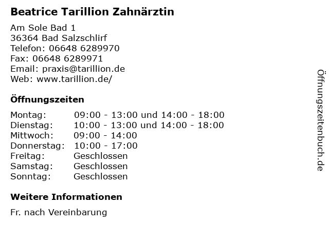 Beatrice Tarillion Zahnärztin in Bad Salzschlirf: Adresse und Öffnungszeiten