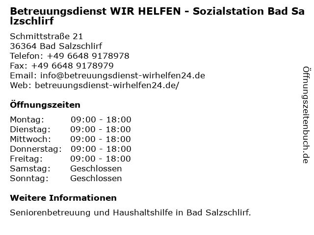 Betreuungsdienst WIR HELFEN - Sozialstation Bad Salzschlirf in Bad Salzschlirf: Adresse und Öffnungszeiten
