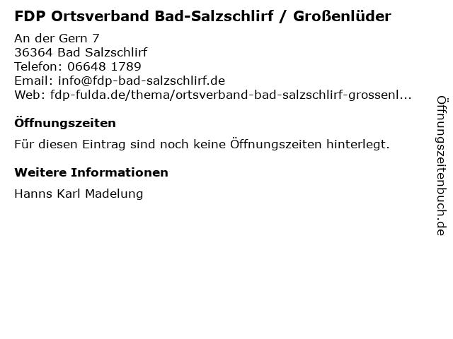 FDP Ortsverband Bad-Salzschlirf / Großenlüder in Bad Salzschlirf: Adresse und Öffnungszeiten