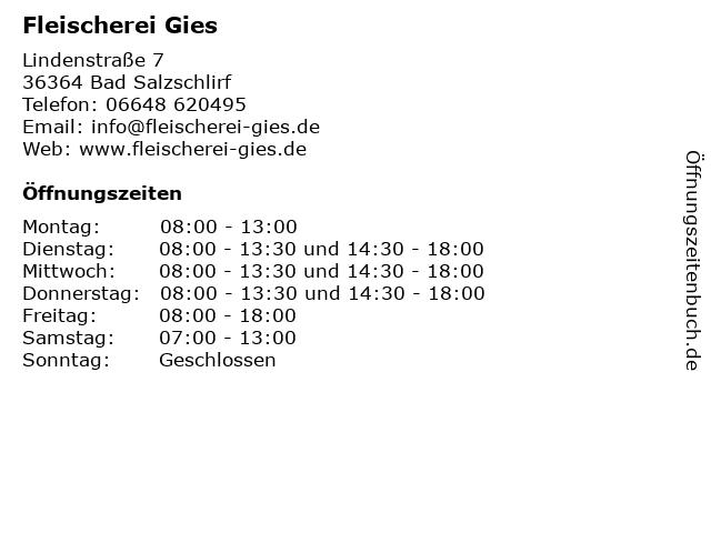Fleischerei Gies in Bad Salzschlirf: Adresse und Öffnungszeiten