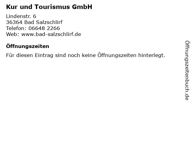 Kur und Tourismus GmbH in Bad Salzschlirf: Adresse und Öffnungszeiten