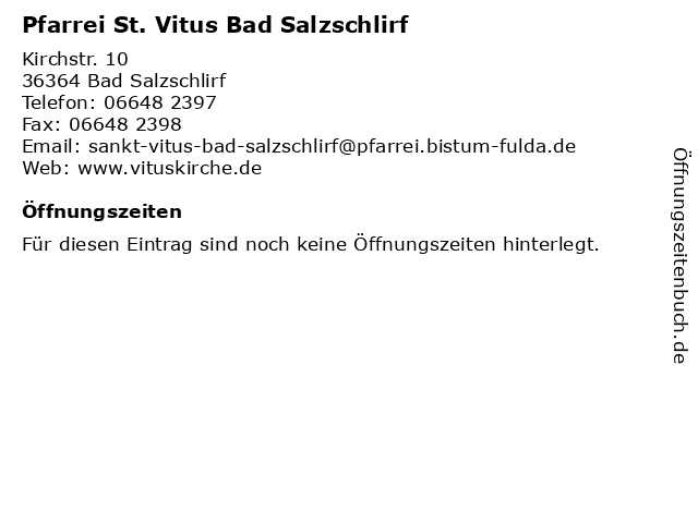 Pfarrei St. Vitus Bad Salzschlirf in Bad Salzschlirf: Adresse und Öffnungszeiten