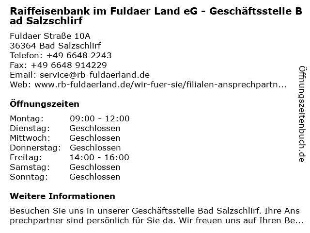Raiffeisenbank im Fuldaer Land eG - Geschäftsstelle Bad Salzschlirf in Bad Salzschlirf: Adresse und Öffnungszeiten