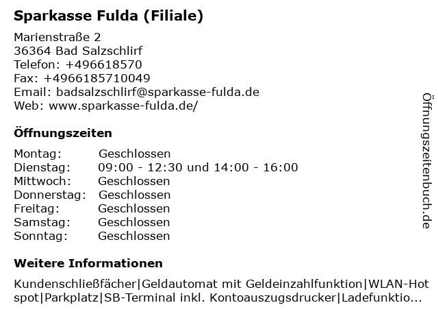 Sparkasse Fulda in Bad Salzschlirf: Adresse und Öffnungszeiten
