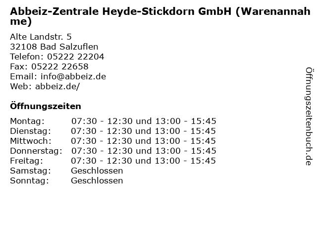 Abbeiz-Zentrale Heyde-Stickdorn GmbH (Warenannahme) in Bad Salzuflen: Adresse und Öffnungszeiten