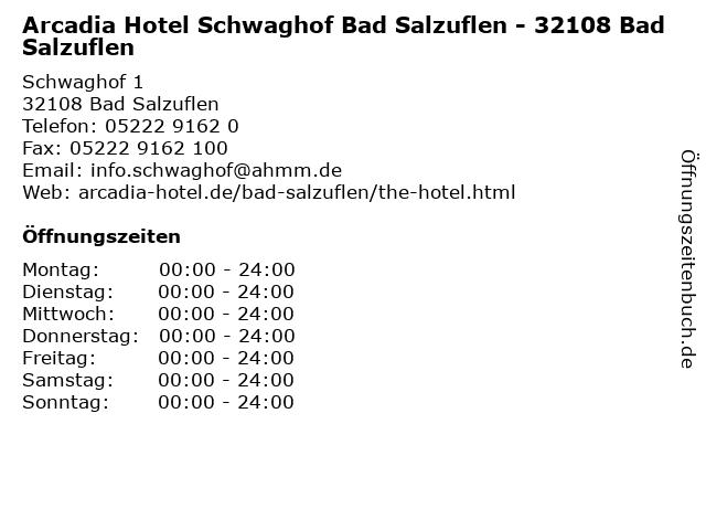 Arcadia Hotel Schwaghof Bad Salzuflen - 32108 Bad Salzuflen in Bad Salzuflen: Adresse und Öffnungszeiten