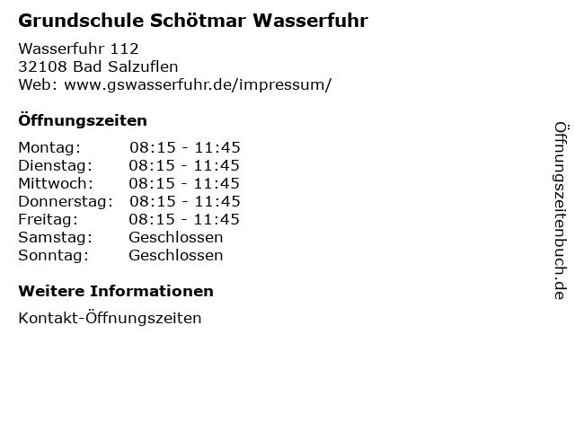 ᐅ öffnungszeiten Grundschule Schötmar Wasserfuhr Wasserfuhr 112