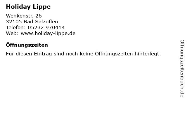 Holiday Lippe in Bad Salzuflen: Adresse und Öffnungszeiten