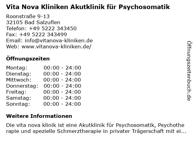 Vita Nova Kliniken Akutklinik für Psychosomatik in Bad Salzuflen: Adresse und Öffnungszeiten