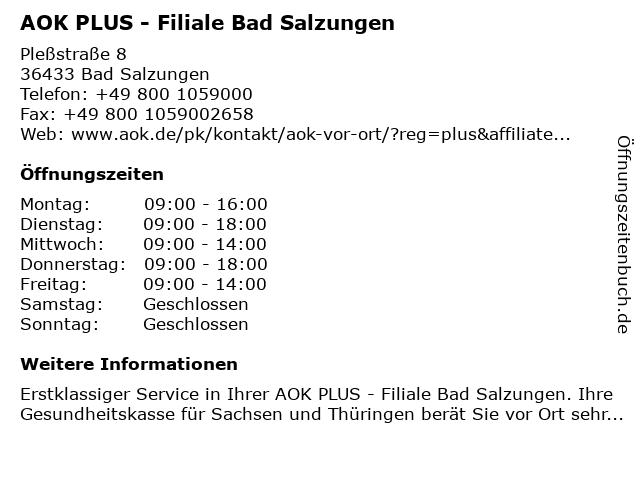 AOK PLUS - Filiale Bad Salzungen - bitte Termin vereinbaren in Bad Salzungen: Adresse und Öffnungszeiten
