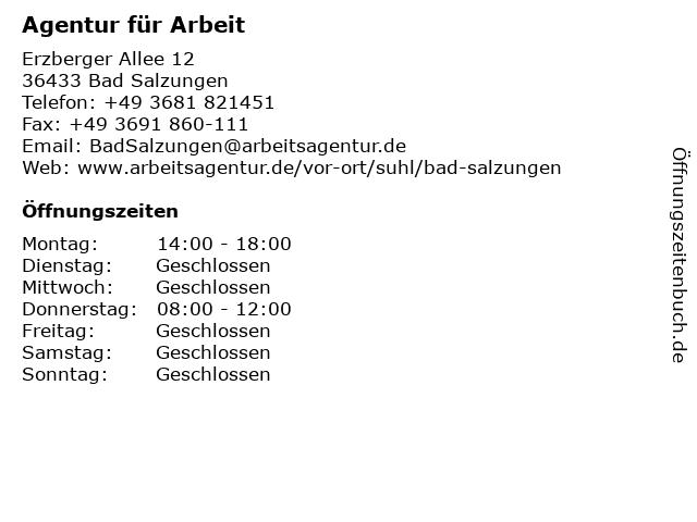 Agentur für Arbeit in Bad Salzungen: Adresse und Öffnungszeiten
