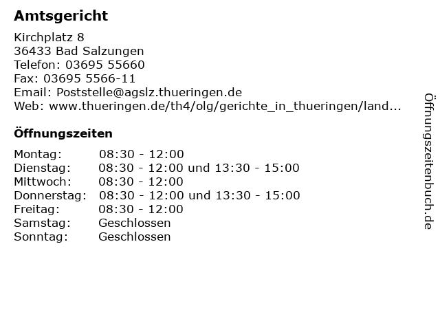 Amtsgericht in Bad Salzungen: Adresse und Öffnungszeiten