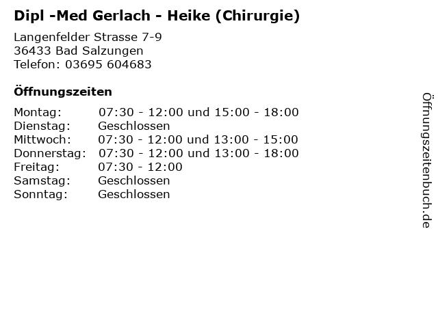 Dipl -Med Gerlach - Heike (Chirurgie) in Bad Salzungen: Adresse und Öffnungszeiten