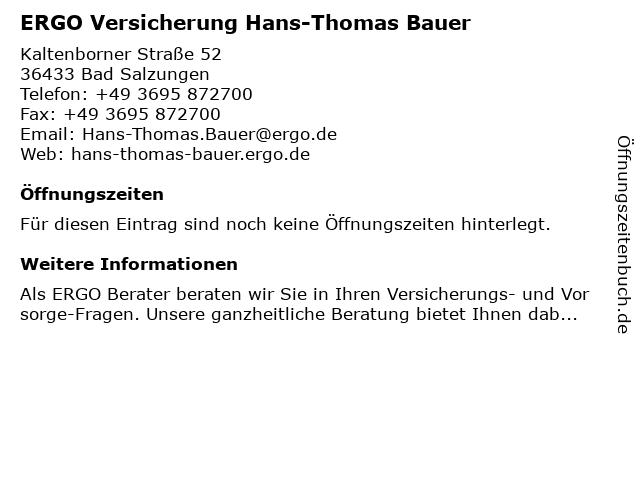 ERGO Versicherung Hans-Thomas Bauer in Bad Salzungen: Adresse und Öffnungszeiten