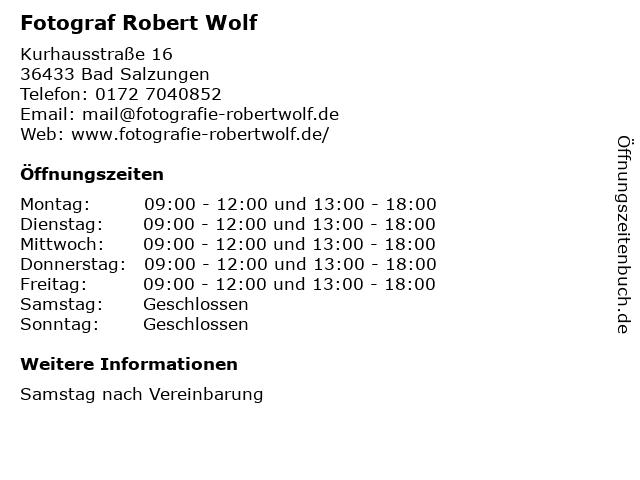 Fotograf Robert Wolf in Bad Salzungen: Adresse und Öffnungszeiten