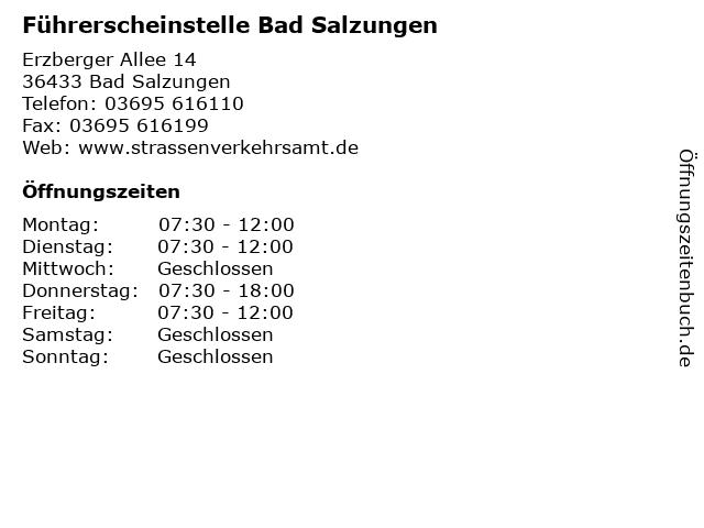 Führerscheinstelle Bad Salzungen in Bad Salzungen: Adresse und Öffnungszeiten