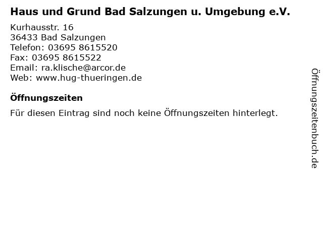 Haus und Grund Bad Salzungen u. Umgebung e.V. in Bad Salzungen: Adresse und Öffnungszeiten