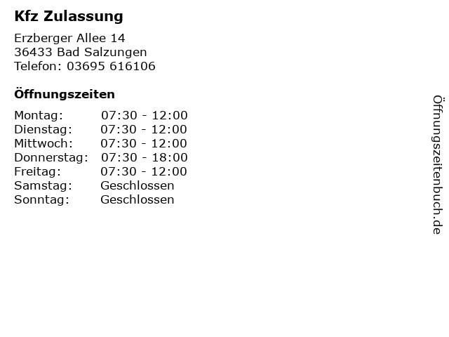 Kfz Zulassung in Bad Salzungen: Adresse und Öffnungszeiten