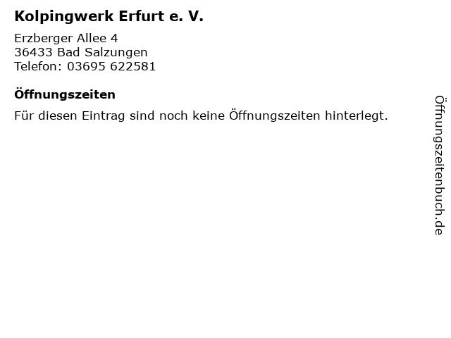 Kolpingwerk Erfurt e. V. in Bad Salzungen: Adresse und Öffnungszeiten