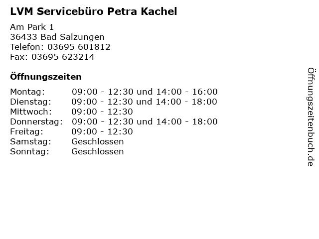 LVM Servicebüro Petra Kachel in Bad Salzungen: Adresse und Öffnungszeiten