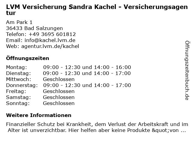 LVM Versicherung Sandra Kachel - Versicherungsagentur in Bad Salzungen: Adresse und Öffnungszeiten