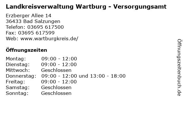 Landkreisverwaltung Wartburg - Versorgungsamt in Bad Salzungen: Adresse und Öffnungszeiten