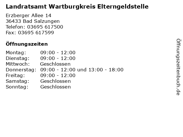 Landratsamt Wartburgkreis Elterngeldstelle in Bad Salzungen: Adresse und Öffnungszeiten
