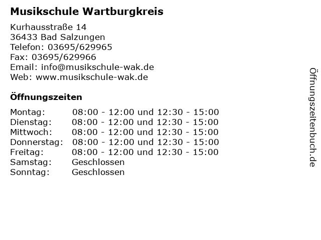 Musikschule Wartburgkreis in Bad Salzungen: Adresse und Öffnungszeiten