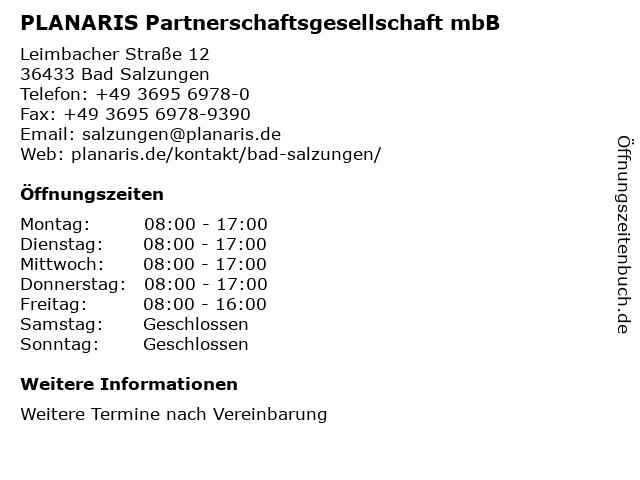PLANARIS Partnerschaftsgesellschaft mbB in Bad Salzungen: Adresse und Öffnungszeiten