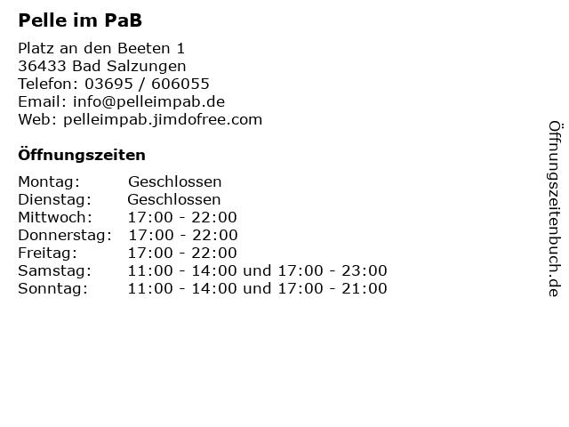 Pelle im PaB in Bad Salzungen: Adresse und Öffnungszeiten
