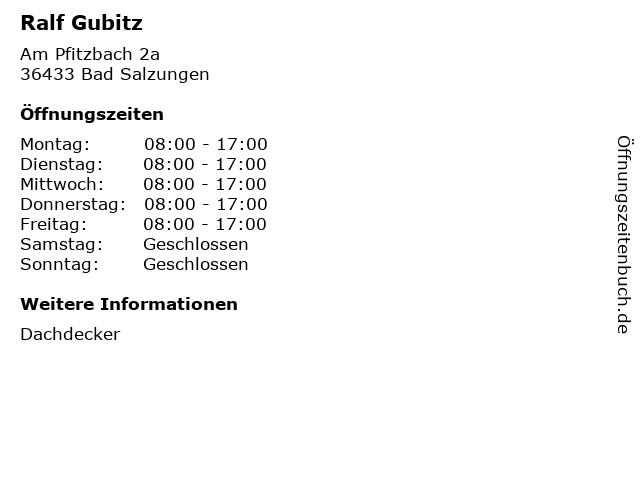 Ralf Gubitz in Bad Salzungen: Adresse und Öffnungszeiten