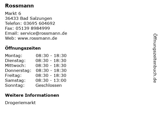 Rossmann in Bad Salzungen: Adresse und Öffnungszeiten
