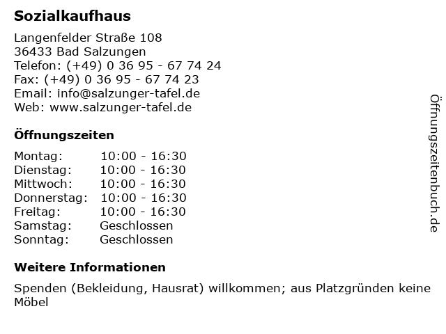 ᐅ öffnungszeiten Sozialkaufhaus Langenfelder Straße 108 In Bad