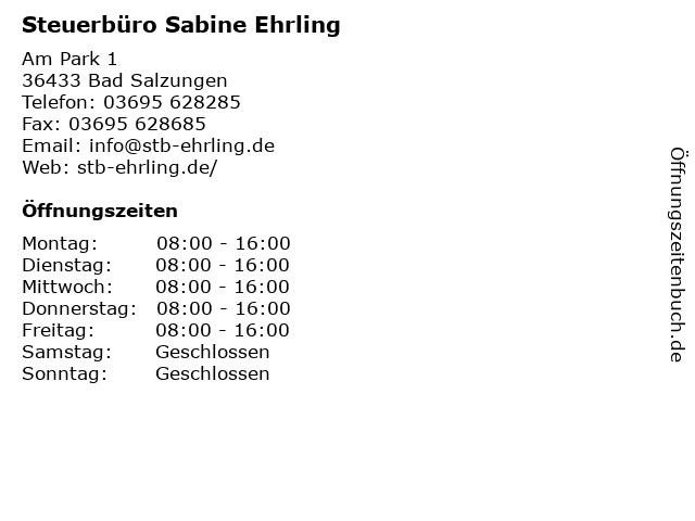 Steuerbüro Sabine Ehrling in Bad Salzungen: Adresse und Öffnungszeiten