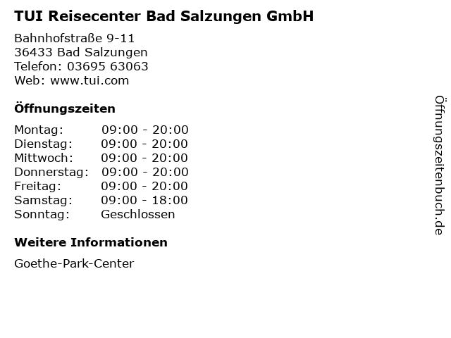 TUI Reisecenter Bad Salzungen GmbH in Bad Salzungen: Adresse und Öffnungszeiten