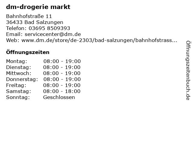 dm-drogerie markt GmbH + Co. KG in Bad Salzungen: Adresse und Öffnungszeiten