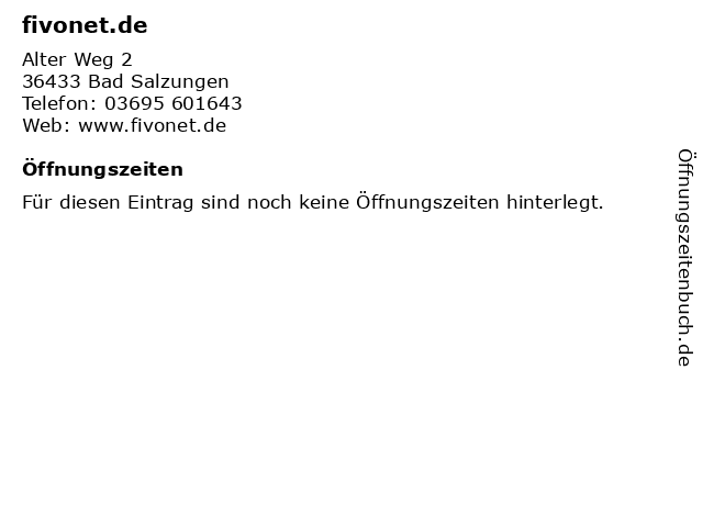 fivonet.de in Bad Salzungen: Adresse und Öffnungszeiten