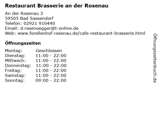 Restaurant Brasserie an der Rosenau in Bad Sassendorf: Adresse und Öffnungszeiten