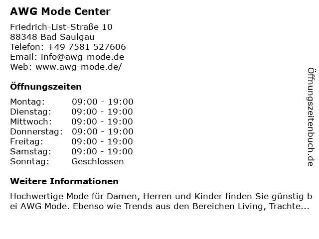 AWG Mode Center in Bad Saulgau: Adresse und Öffnungszeiten