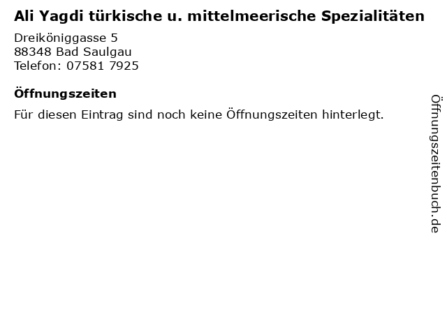 Ali Yagdi türkische u. mittelmeerische Spezialitäten in Bad Saulgau: Adresse und Öffnungszeiten